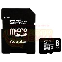 Флеш память Silicon Power MicroSDHC 8GB CLASS4 +SD adapter