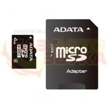 Флеш память A-Data microSDHC 4GB Class 4 adapter