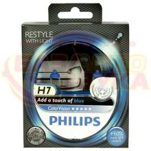 Галогенная лампа Philips ColorVision Blue H7 12V 12972CVPBS2 (2шт.)