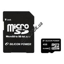 Флеш память Silicon Power MicroSDHC 4GB