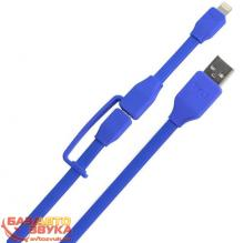 MicroUSB адаптер Tylt Flyp Duo Reversible USB to microUSB/Lightning Charge & Sync Cable Blue (DUO-REV1MBL-T), Фото 2