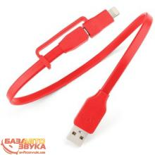 MicroUSB адаптер Tylt Flyp Duo Reversible USB to microUSB/Lightning Charge & Sync Cable Red (DUO-REV1MRD-T)