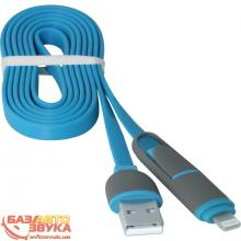 USB адаптер Defender USB10-03BP USB(AM)-MicroUSB+Lightning blue 87487