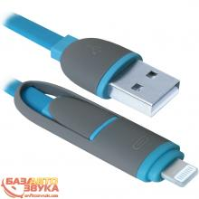 USB адаптер Defender USB10-03BP USB(AM)-MicroUSB+Lightning blue 87487, Фото 4