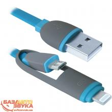 USB адаптер Defender USB10-03BP USB(AM)-MicroUSB+Lightning blue 87487, Фото 3