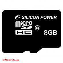 Флеш память Silicon Power MicroSDHC 8GB Class 10 SP008GBSTH010V10