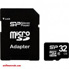 Флеш память Silicon Power MicroSDHC 32GB + SD adapter class 10 SP032GBSTH011V10SP