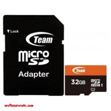 Флеш память Team MicroSDHC 32GB UHS-I Class 10 + SD adapter TUSDH32GUHS03